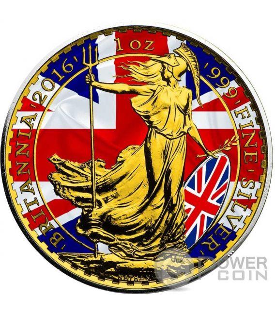 PATRIOTIC BRITANNIA Oro Flag 1 Oz Moneda Plata 2£ United Kingdom 2016