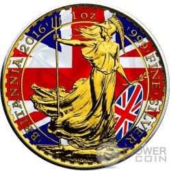 PATRIOTIC BRITANNIA Gold Flag 1 Oz Silver Coin 2£ United Kingdom 2016