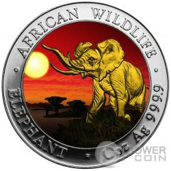 ELEPHANT SUNSET African Wildlife 1 Oz Moneda Plata 100 Shillings Somalia 2016