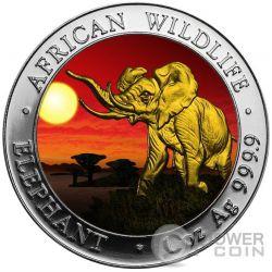 ELEPHANT SUNSET African Wildlife 1 Oz Серебро Монета 100 Шилингов Сомали 2016