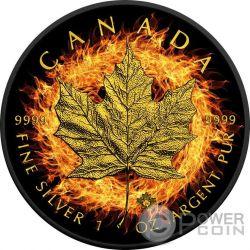 BURNING MAPLE LEAF Fire Black Ruthenium Gold 1 Oz Silver Coin 5$ Canada 2016