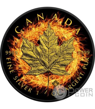 BURNING MAPLE LEAF Foglia Fuoco Nera Rutenio Moneta Argento 5$ Canada 2016