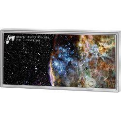 HUBBLE SPACE TELESCOPE 25th Anniversary 1 Oz Moneda Plata 5$ Samoa 2015