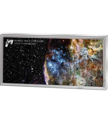 HUBBLE SPACE TELESCOPE Telescopio 25 Anniversario 1 Oz Moneta Argento 5$ Samoa 2015