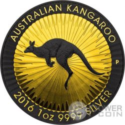 AUSTRALIAN KANGAROO Gold Shadows 1 Oz Silver Coin 1$ Australia 2016