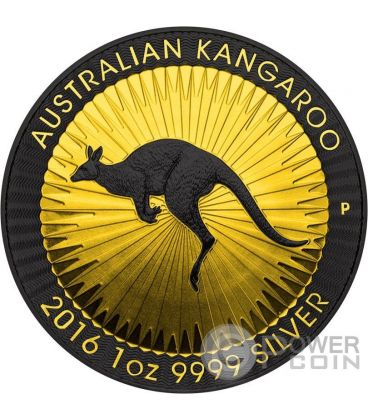 CANGURO AUSTRALIANO Gold Shadows 1 Oz Moneta Argento 1$ Australia 2016