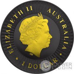 AUSTRALIAN KANGAROO Gold Shadows 1 Oz Silber Münze 1$ Australia 2016