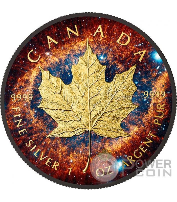 Helix Nebula Maple Leaf Space Collection 1 Oz Silver Coin
