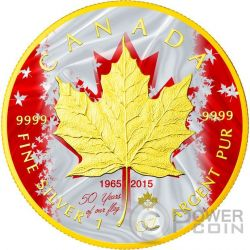 MAPLE LEAF 50 Anniversario Bandiera Foglia 1 Oz  Moneta Argento 5$ Canada 2015