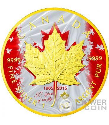 MAPLE LEAF 50th Anniversary Flag 1 Oz Silver Coin 5$ Canada 2015