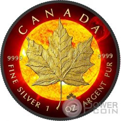 SOLAR FLARE Eruzione Solare Maple Leaf Space Collection 1 Oz Moneta Argento 5$ Canada 2015