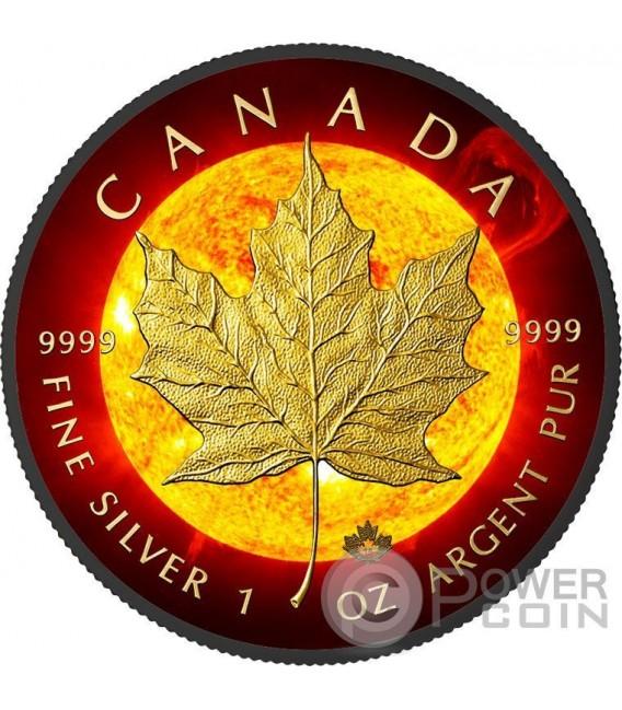 SOLAR FLARE Eruzione Solare Maple Leaf Space Collection 1 Oz Moneta Argento 5$ Canada 2015