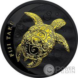 TAKU TURTLE Hawksbill Black Ruthenium 1 Oz Silver Coin 2$ Fiji 2011