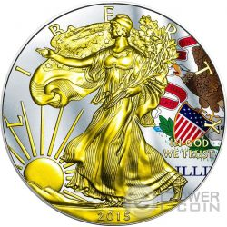 US STATE FLAGS ILLINOIS Walking Liberty Oro Bandiera Moneta Argento 1$ US Mint 2015