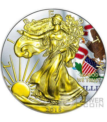 US STATE FLAGS ILLINOIS Walking Liberty Oro Bandiera Moneta Argento 1$ US Mint 2015