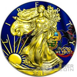 US STATE FLAGS PENNSYLVANIA Walking Liberty Oro Bandiera Moneta Argento 1$ US Mint 2015