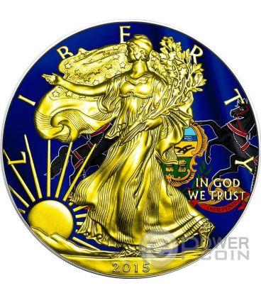 US STATE FLAGS PENNSYLVANIA Walking Liberty Oro Bandiera Moneta Argento 1$ US Mint 2015