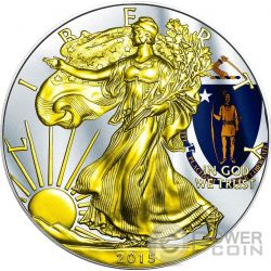 US STATE FLAGS MASSACHUSETTS Walking Liberty Oro Bandiera Moneta Argento 1$ US Mint 2015