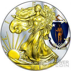 US STATE FLAGS MASSACHUSETTS Walking Liberty Oro Bandiera Moneta Argento 1$ USA 2015