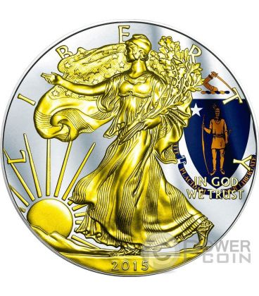 US STATE FLAGS MASSACHUSETTS Walking Liberty Oro Bandiera Moneta Argento 1$ US Mint 2015
