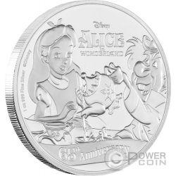 ALICE NEL PAESE DELLE MERAVIGLIE 65 Anniversario 1 Oz Moneta Argento 2$ Niue 2016