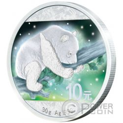 FROZEN CHINESE PANDA Aurora Rhodium Silver Coin 10 Yuan China 2016