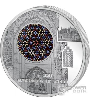 LA SEU Cathedral Palma Windows Of Heaven Silver Coin 10$ Cook Islands 2016
