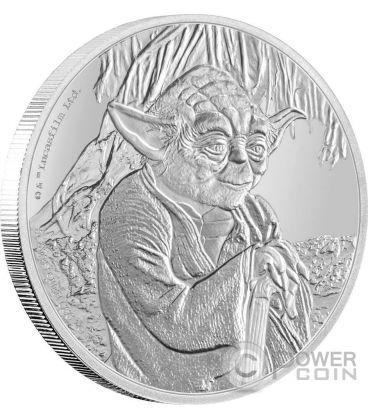 YODA Star Wars Classic 1 Oz Moneta Argento 2$ Niue 2016