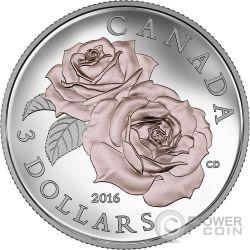 ROSE QUEEN ELIZABETH Blooms Silver Coin 3$ Canada 2016