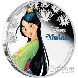 MULAN Disney Princess 1 Oz Silver Proof Coin 2$ Niue 2016