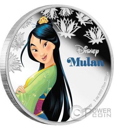MULAN Disney Princess Principessa 1 Oz Moneta Argento 2$ Niue 2016