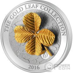 FOUR LEAF CLOVER 3D Gold Quadrifoglio Oro 1 Oz Moneta Argento 5$ Samoa 2016