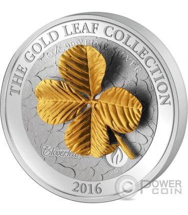 FOUR LEAF CLOVER 3D Gold Collection 1 Oz Silver Coin 5$ Samoa 2016