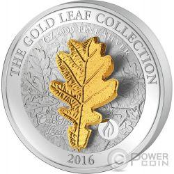 OAK LEAF 3D Gold Collezione Quercia Oro 1 Oz Moneta Argento 5$ Samoa 2016