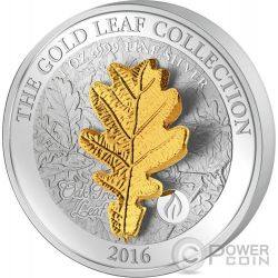 OAK LEAF 3D Oro Collection 1 Oz Moneda Plata 5$ Samoa 2016