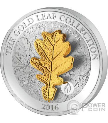 OAK LEAF 3D Gold Collection 1 Oz Silver Coin 5$ Samoa 2016