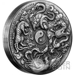 CHINESE ANCIENT MYTHICAL CREATURES Yin Yang High Relief 2 Oz Silver Coin 2$ Tuvalu 2016