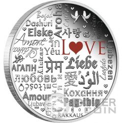 LANGUAGE OF LOVE Linguaggio Amore 2 Oz Moneta Argento 2$ Tuvalu 2016