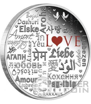 LANGUAGE OF LOVE Linguaggio Amore 2 Oz Moneta Argento 2$ Tuvalu 2016