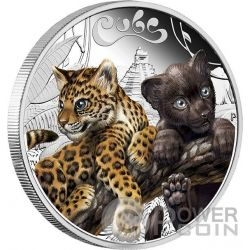JAGUAR CUBS Baby Silver Coin 50 Cents Tuvalu 2016
