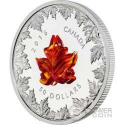AUTUMN RADIANCE Maple Leaf Murano Glass 5 Oz Silver Coin 50$ Canada 2016