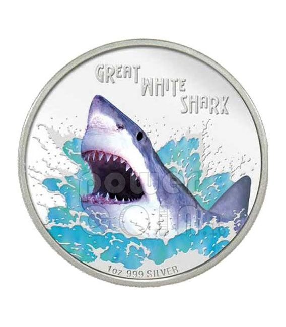 GREAT WHITE SHARK Deadly Dangerous Silver Coin 1$ Tuvalu 2007