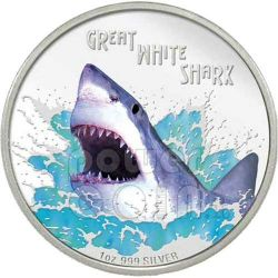 SQUALO BIANCO Shark Deadly Dangerous Moneta Argento 1$ Tuvalu 2007