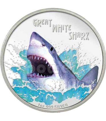 GREAT WHITE SHARK Deadly Dangerous Silver Coin 1$ Tuvalu 2007