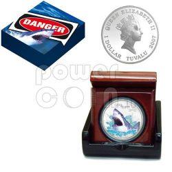 GREAT WHITE SHARK Deadly Dangerous Moneda Plata 1$ Tuvalu 2007