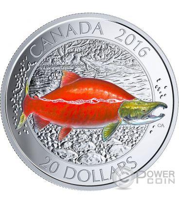 SOCKEYE SALMON Salmone Rosso Canadian Salmonids 1 Oz Moneta Argento 20$ Canada 2016