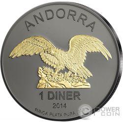 EAGLE Aquila Nera Rutenio 1 Oz Moneta Argento 1D Andorra 2014