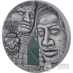 ANGKOR WAT Malachite 1 Kg Kilo Moneda Plata 10.000 Francs Congo 2016