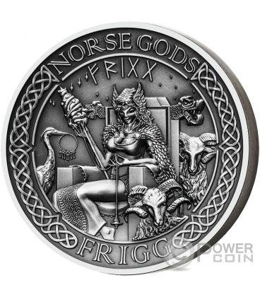FRIGG Norse Gods Alti Rilievi 2 Oz Moneta Argento 10$ Cook Islands 2016