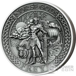 FREYR Norse Gods High Relief 2 Oz Moneda Plata 10$ Cook Islands 2016